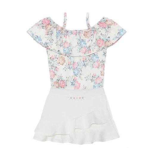 Conjunto Infantil Kiki Xódo Shorts Saia e Blusa Rosas Cod 5681