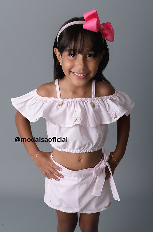 Conjunto Listrado Rosa com bordado Miss Doll Ref 50715