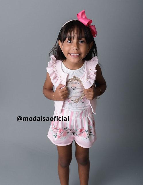 Conjunto Infantil Kiki Xódo 3 Peças Shorts, Colete e Blusa Cachorrinho Cod 3542