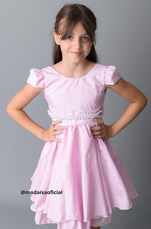 Vestido Rosa com Bolinhas Jeito de Menina Ref 11687