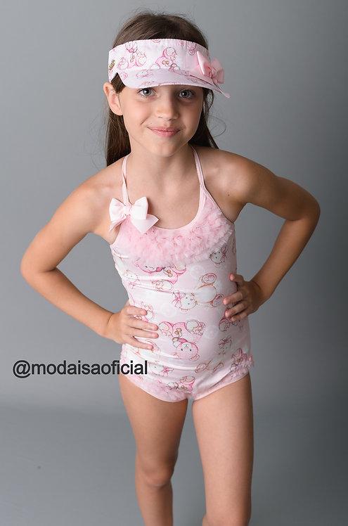 Body Maiô Rosa Ursinho FruFru Yoloveyo Ref 20802