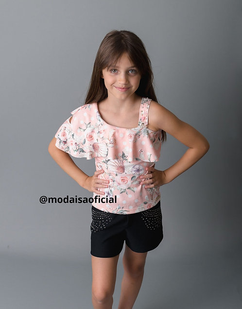 Conjunto Infantil Kiki Xódo Blusa e Shorts Cod 5688