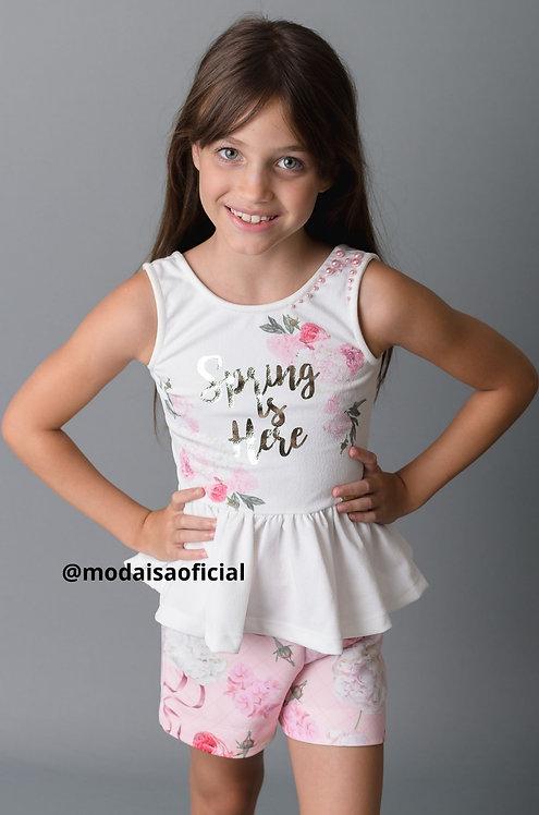Conjunto  Kiki Xódo Blusa Branca e Shorts Rosa Spring is Here Cod 5680
