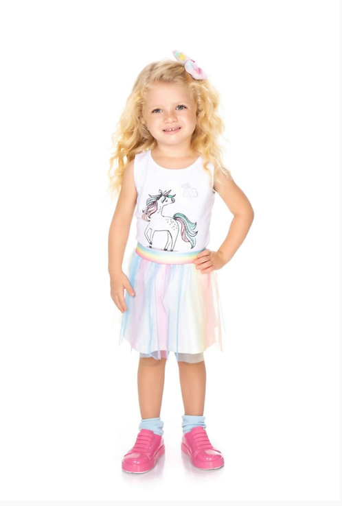 Conjunto Infantil Carametade Tule Arco Iris Cod 4305