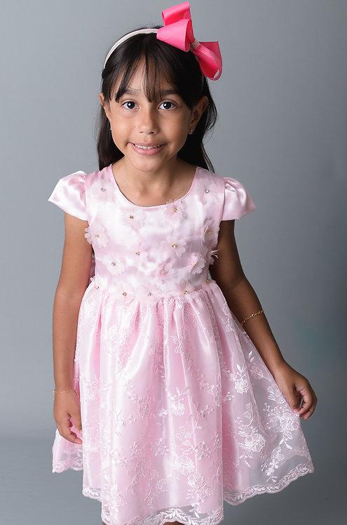 Vestido Rosa Renda Chic Magia Colorida Ref 81856