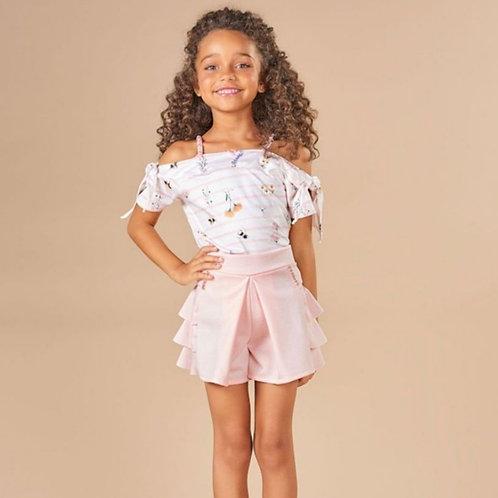 Conjunto Infantil Kiki Xódo Shorts e Blusa Flores e Abelhas Cod 5686
