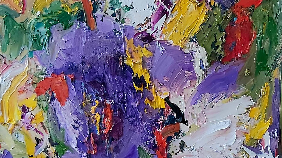 """abstract painting  """"Pansies"""""""