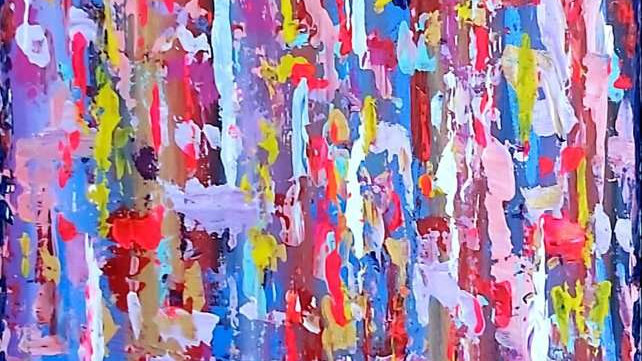 """abstract painting """"A dream in a summer night"""" part 2"""