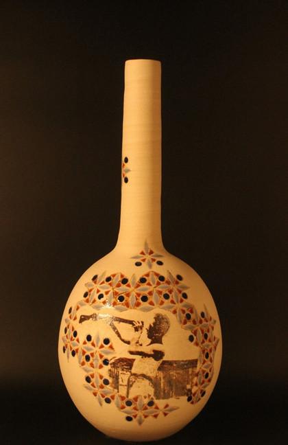 Wheel thrown stoneware | ceramic lithography | 55x24 cm