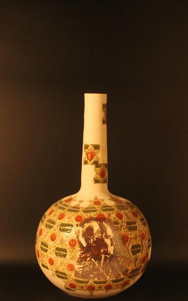 Wheel thrown stoneware | ceramic lithography | 44x25 cm