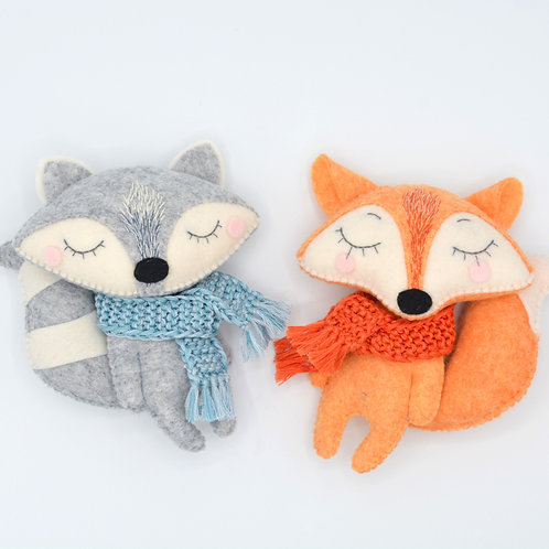 "Felted Toy ""Raccoon and Fox"""