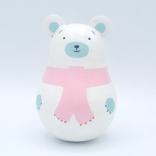 "Wooden Tinkling Tumbler ""White Bear"""