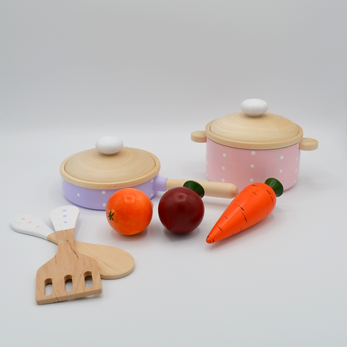 Wooden Cookware Set with Veggies