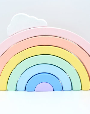 Wooden Rainbow Stacker with Cloud