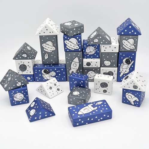 Wooden Space Blocks Set in a Gift Box