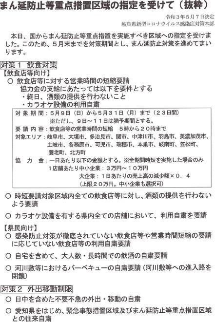 まん延防止等重点措置区域の指定を受けて(抜粋)