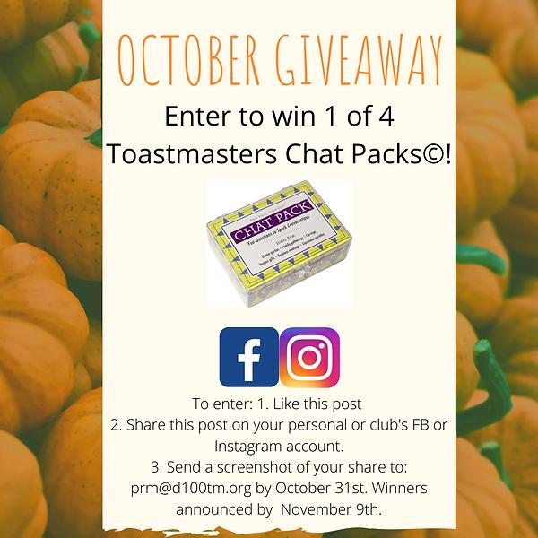 October Giveaway (updated)