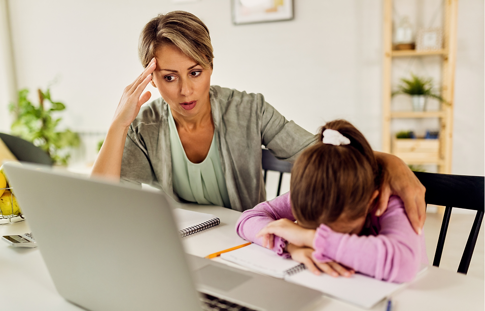 Stressed parent virtual learning need tutoring
