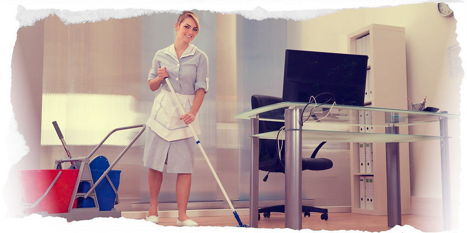 Young cleaner in an office