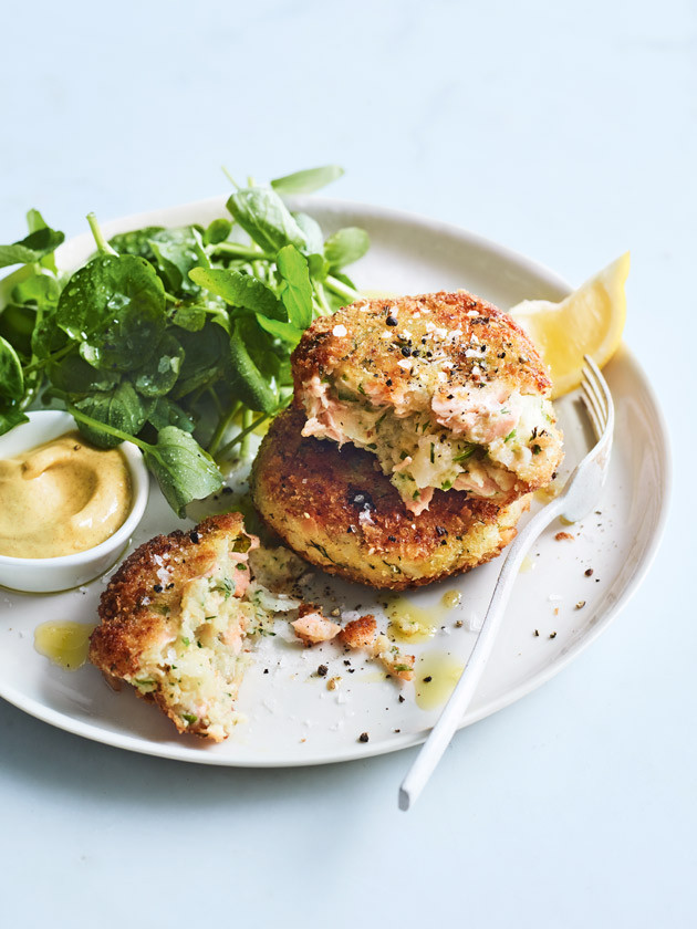 Potato and salmon cake with dill