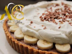 Fondant chocolate banana tart
