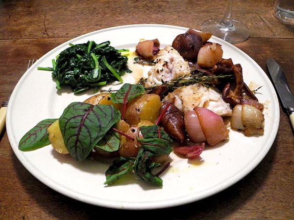 Potatoes with sorrel and haddock