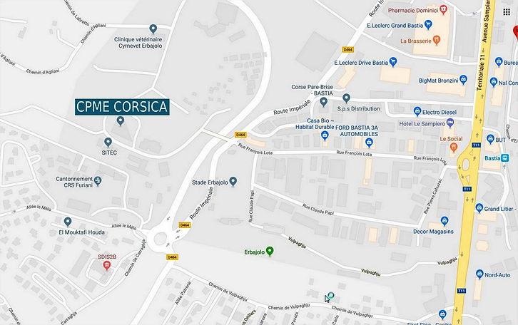 Plan d'accès CPME Corsica à Bastia