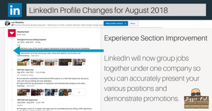 LInkedIn Profile - Experience Section Update