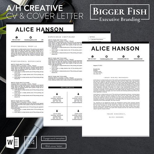 A/H Creative CV & Cover Letter