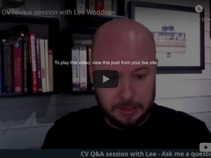 Live CV Review by Lee Woodrow - Video