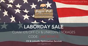 Labor Day Sale 10% off CV & LinkedIn Packages