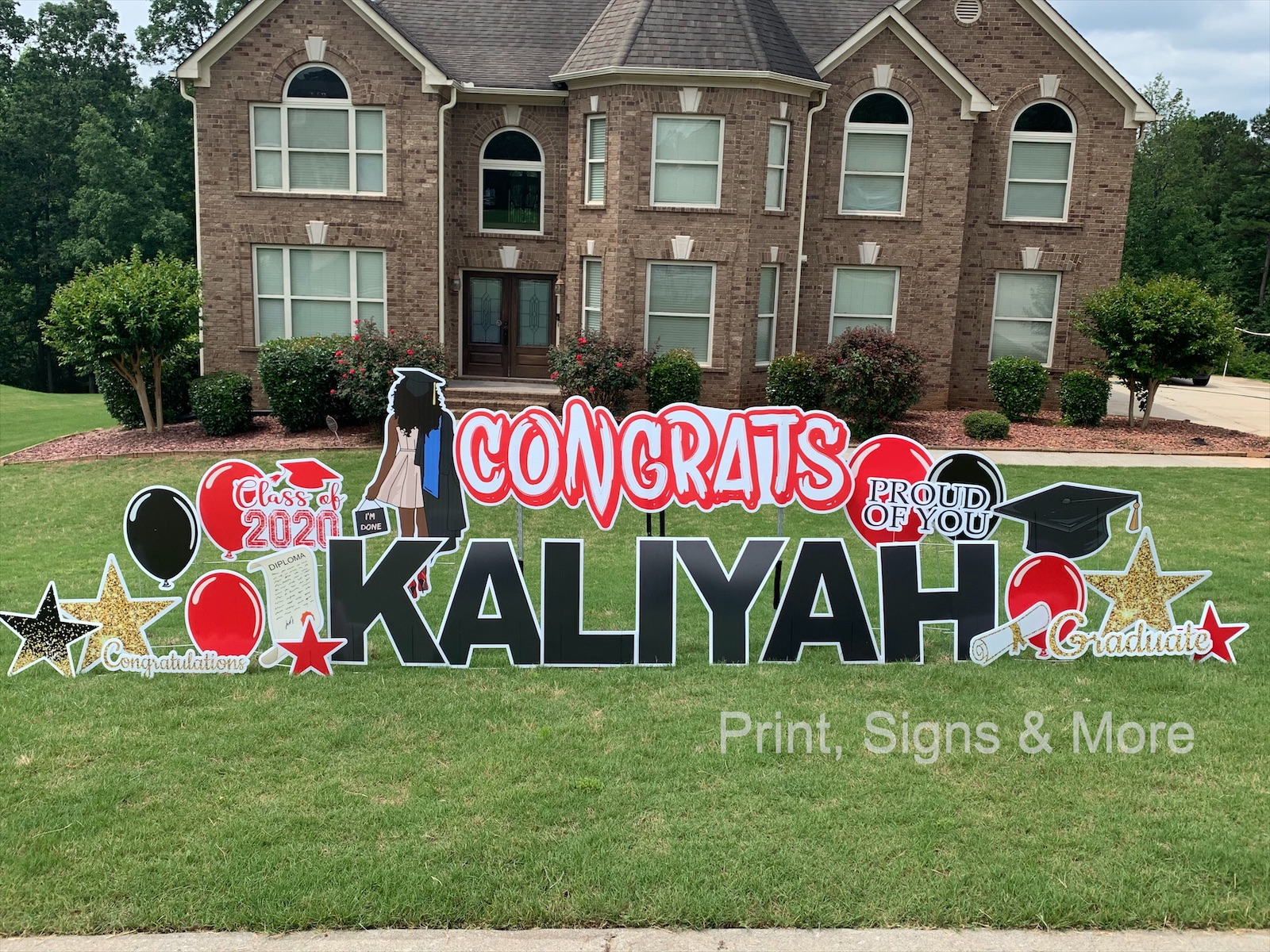 Graduation Greeting using large red congrats banner