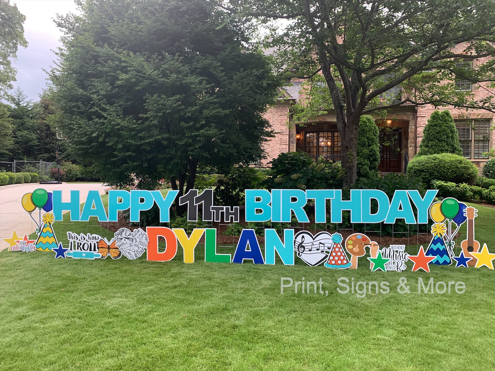 11th Birthday Yard sign greeting in turquoise