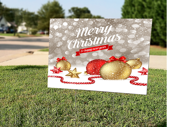 Merry Christmas Ornament Yard Sign