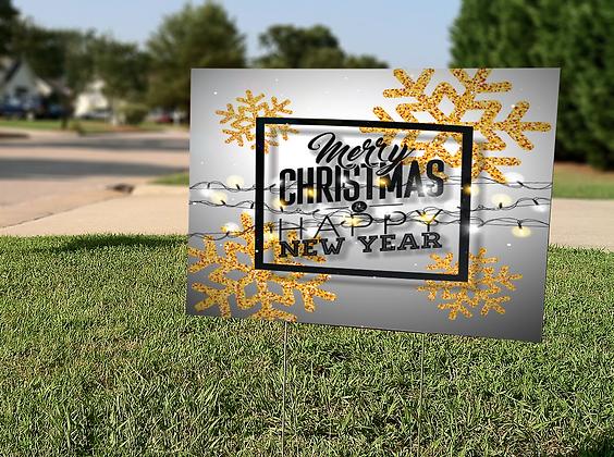 Merry Christmas Lights Yard Sign