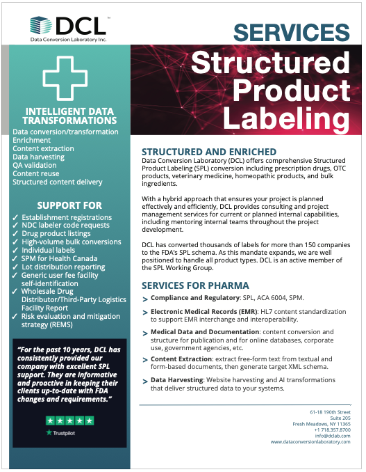 Structured Product Labeling (SPL) conversion services from DCL