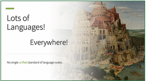 The Tower of Babel with a statement about the fact that while there are many languages, there is no unified standard of language codes.