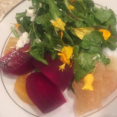 Roasted Gold & Red Beet Salad with Grapefruit & Citrus Vinaigrette.