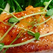 Miso-Maple Glazed Salmon with Dill & Pea Shoots