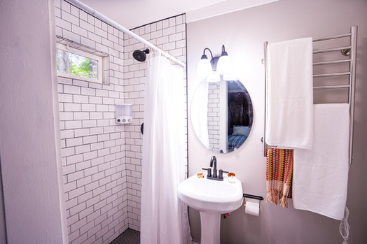 Renovated and clean bathrooms at Foggy Bottom Cabins