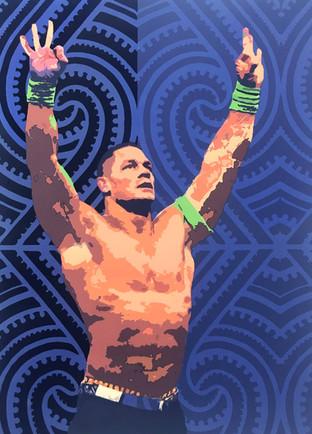 Shawnee Tekii, 2018. John WWE [Acrylic on paper 100 x 140 cm].