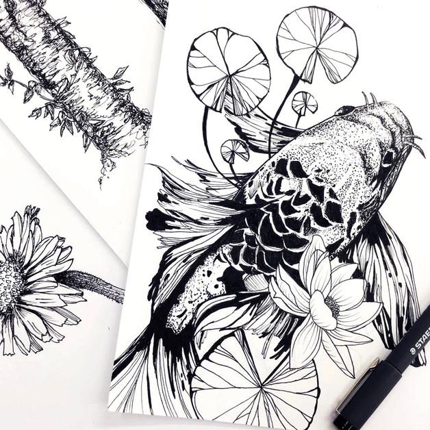Shawnee Tekii, 2016. Mundane Detail [Ink on paper size unknown].