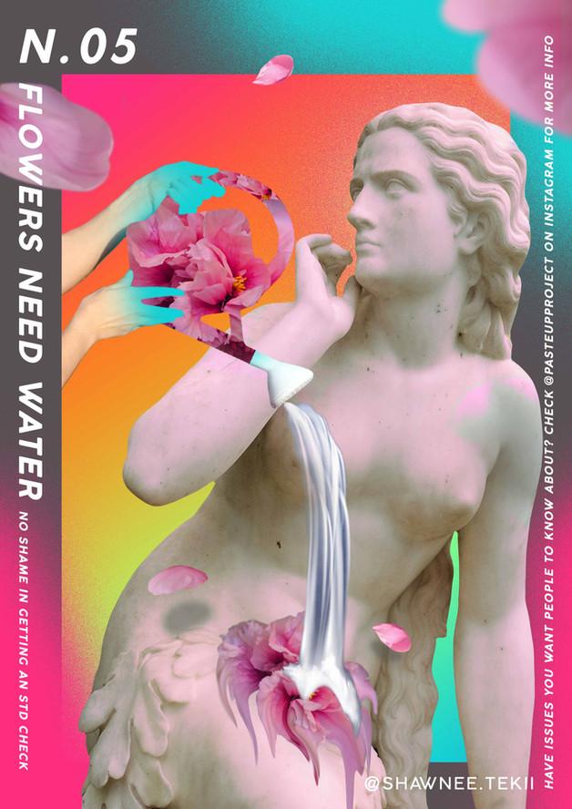 Shawnee Tekii, 2019. Flowers need Water [Digital Collage 29.7 x 42 cm].