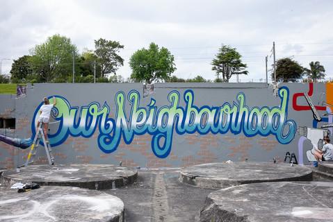 Shawnee Tekii, 2018. Corbans Estate Mural [Aerosols, size unknown].
