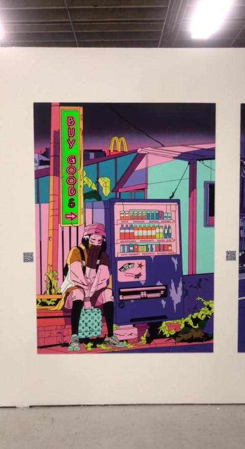 Shawnee Tekii, 2019. Good 4 Sale Series, Animations [Acrylics and aerosols on MDF 220 x 170.8 cm].