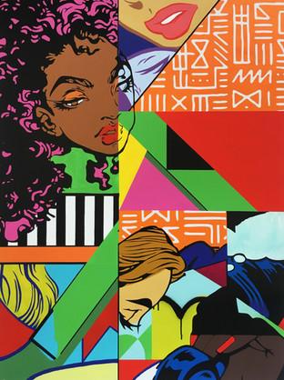 Shawnee Tekii, 2018. Black Pop [Acrylic on MDF 150 x 201 cm]