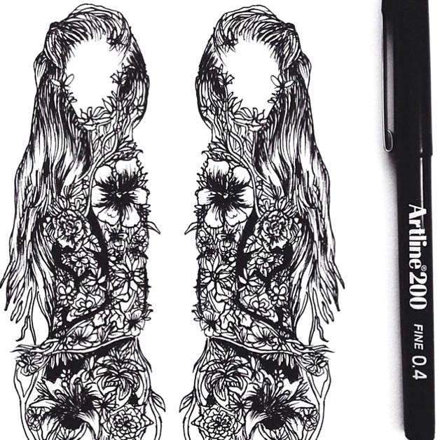 Shawnee Tekii, 2014. Double figure [Ink on paper size unknown].