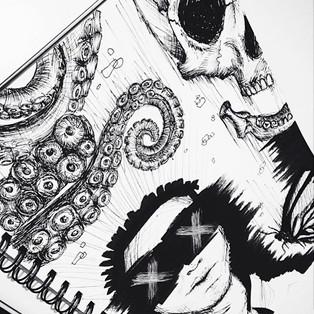 Shawnee Tekii, 2015. Mundane Detail 2 [Ink on paper size unknown].