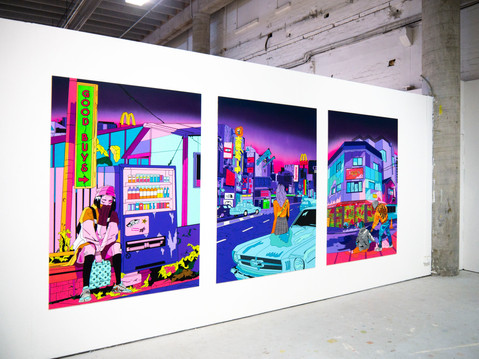 Shawnee Tekii, 2019. Good 4 Sale Series [Acrylics and aerosols on MDF 220 x 170.8 cm].