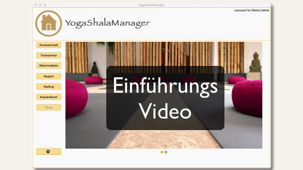 Einführungsvideo YogaShalaManager. Hier werden die grundlegenden Funktionen erklärt